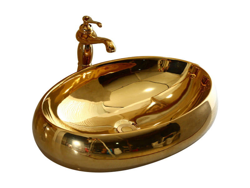 Gold color sanitary ware cabinet washbasin