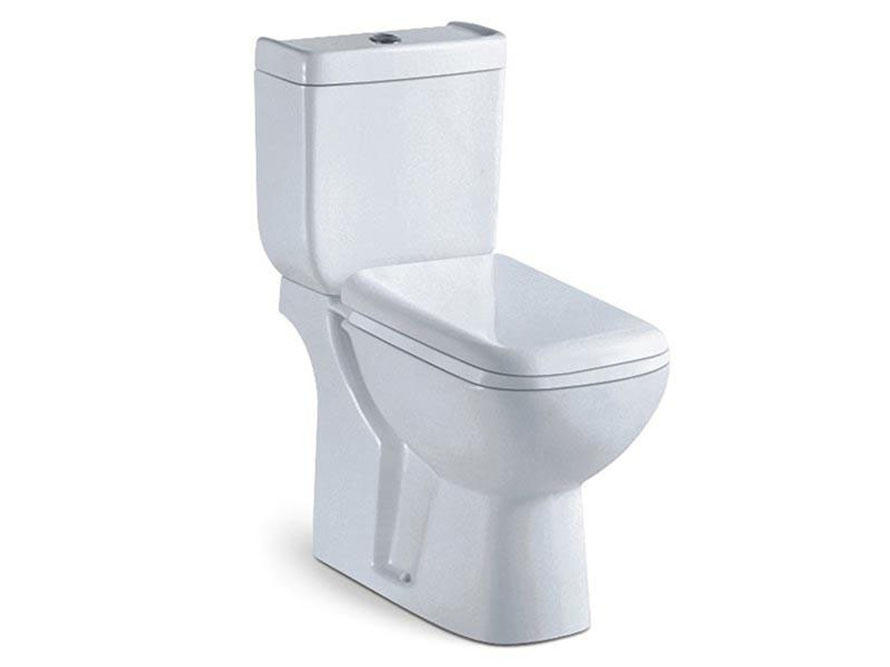 Bathroom two piece soft close seat cover close coupled toilet wc