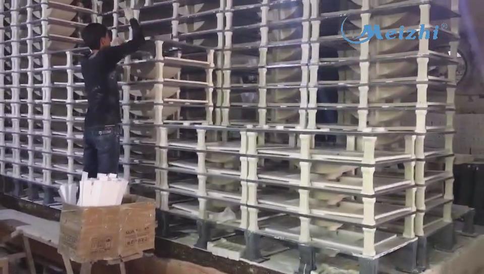 Sanitary ware wash basin kiln loading and unloading