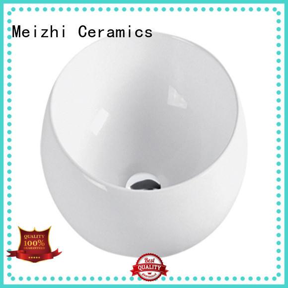 Meizhi white ceramic wash basin customized for hotel