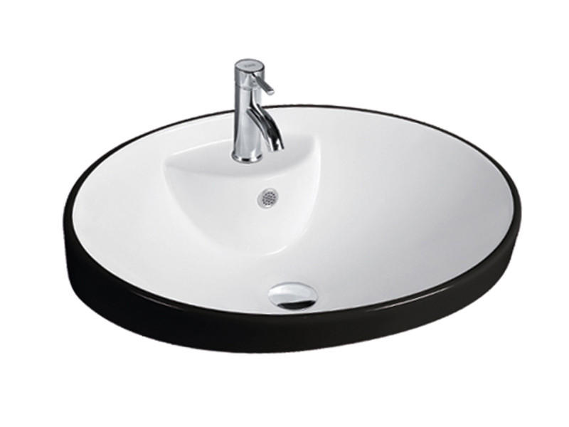 Ceramics bathroom black and white wash hand basin
