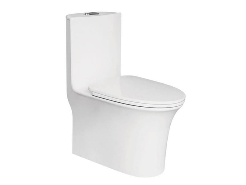 One piece siphonic ceramic toilet commode