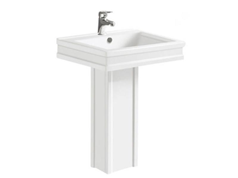 Classical style ceramic square pedestal basins