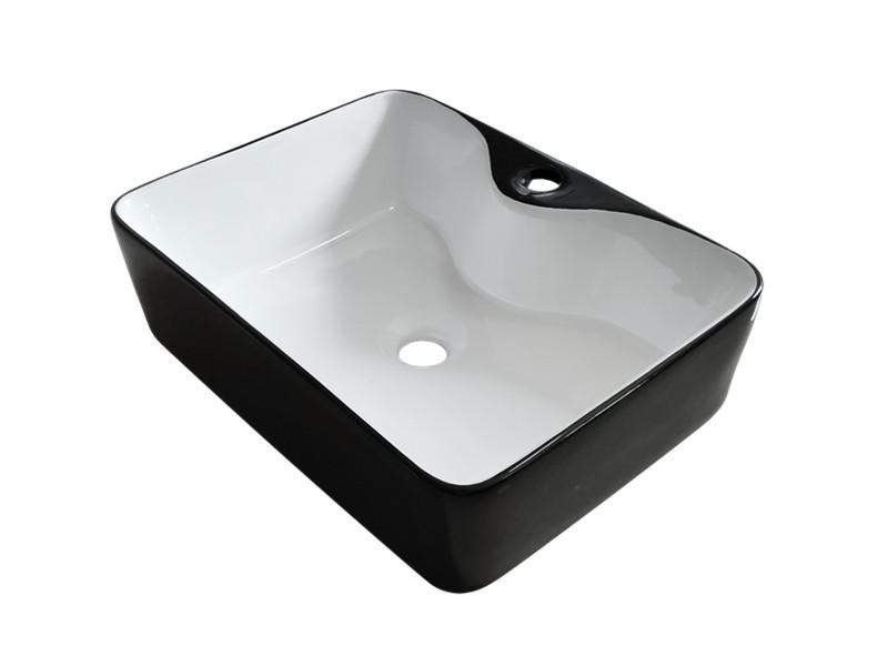 Washroom white and black ceramic basin