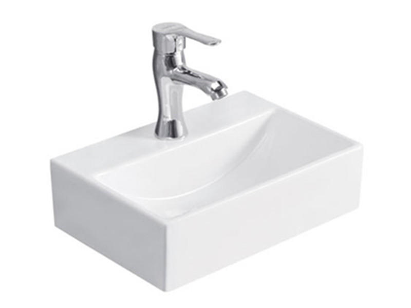 Bathroom Rectangular Small Size Ceramic Handwashing Sink Designed
