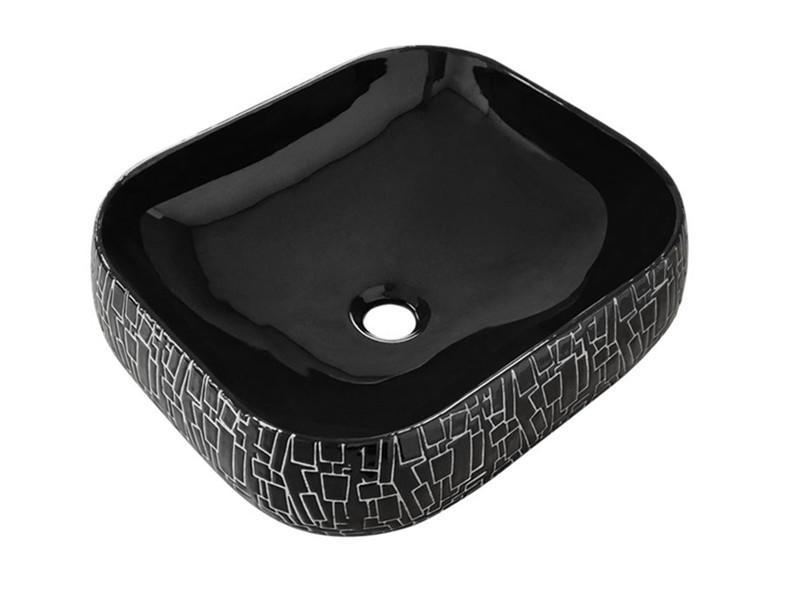 China manufacturer supply no hole color wash hand face black sink basin