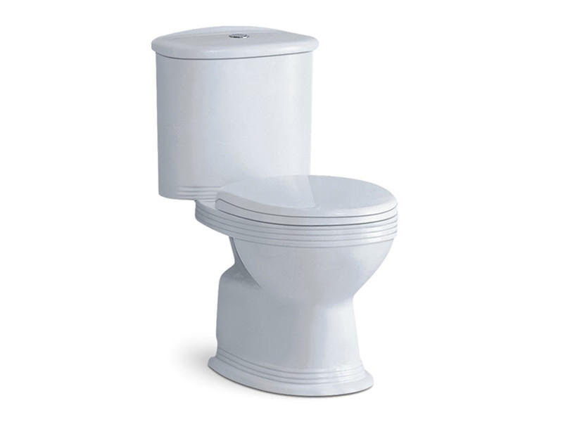 Bathroom ceramic floor mounted two-piece wc toilet