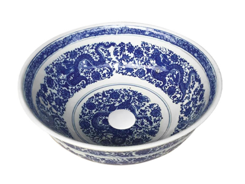 Hand painted blue circular round sink wash art basins