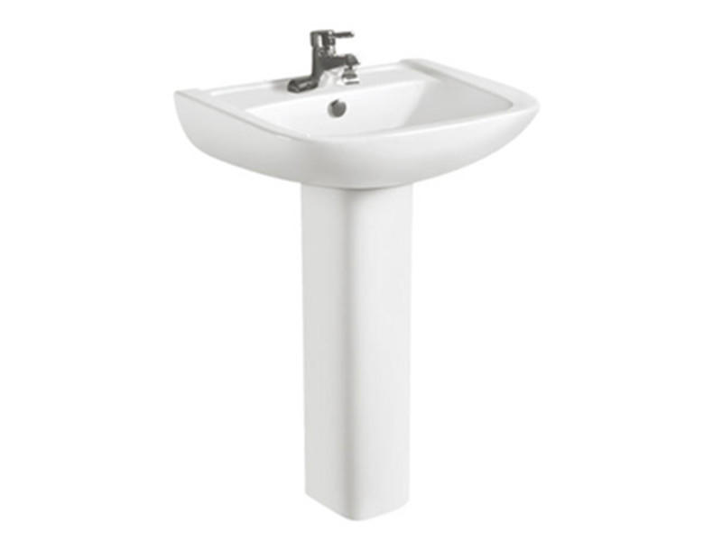Chaozhou ceramic pedestal commercial sink in shell shape