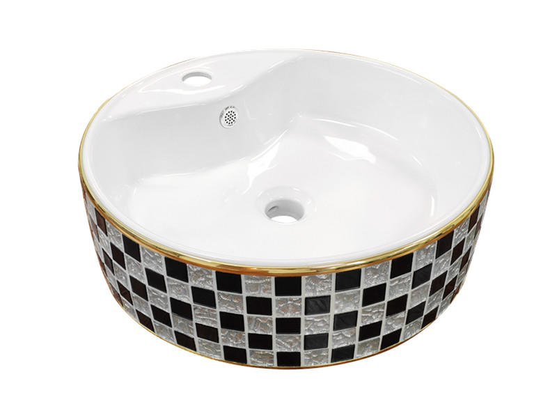 Fancy design excellent quality lines design ceramic special mother of pearl wash basin vessel sink