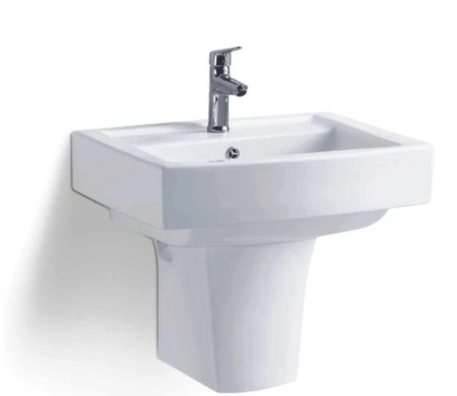 Lavatory modern design half pedestal wall hung wash basins