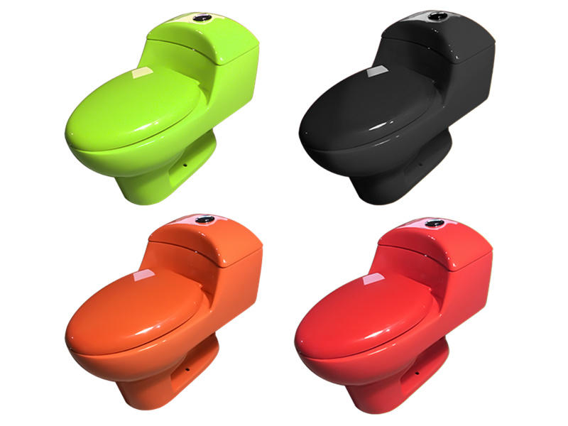Bathroom inodoro de color verde naranja azul rojo one piece toilet
