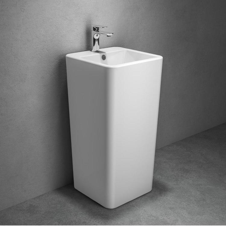 Ceramic floor mounted bathroom square one piece wash basin