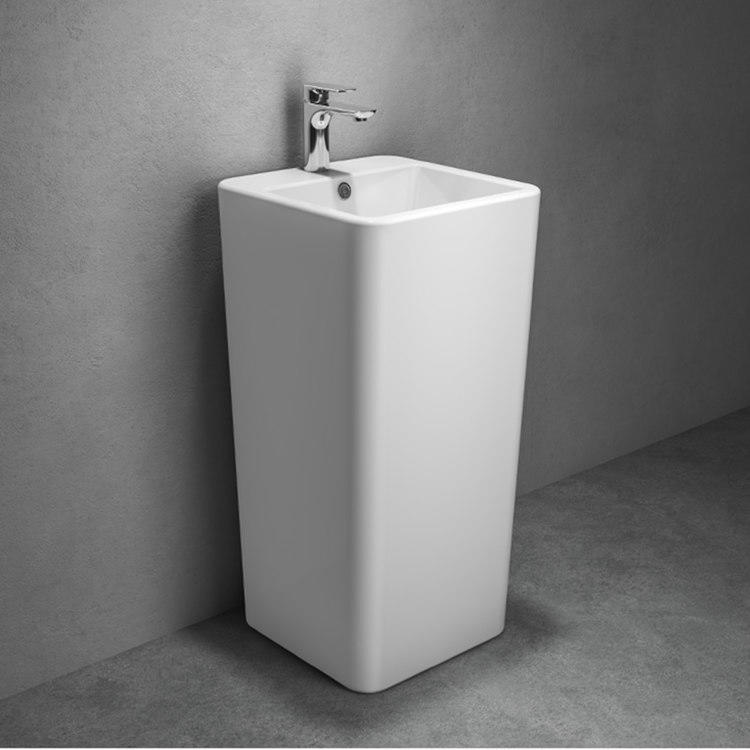 Ceramic floor mounted bathroom square one piece wash basin