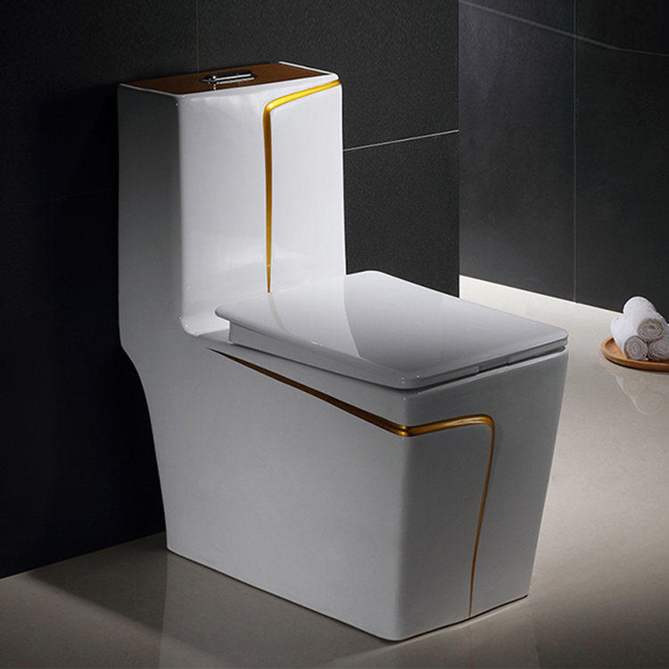Gold and white color siphonic ceramic one piece toilet