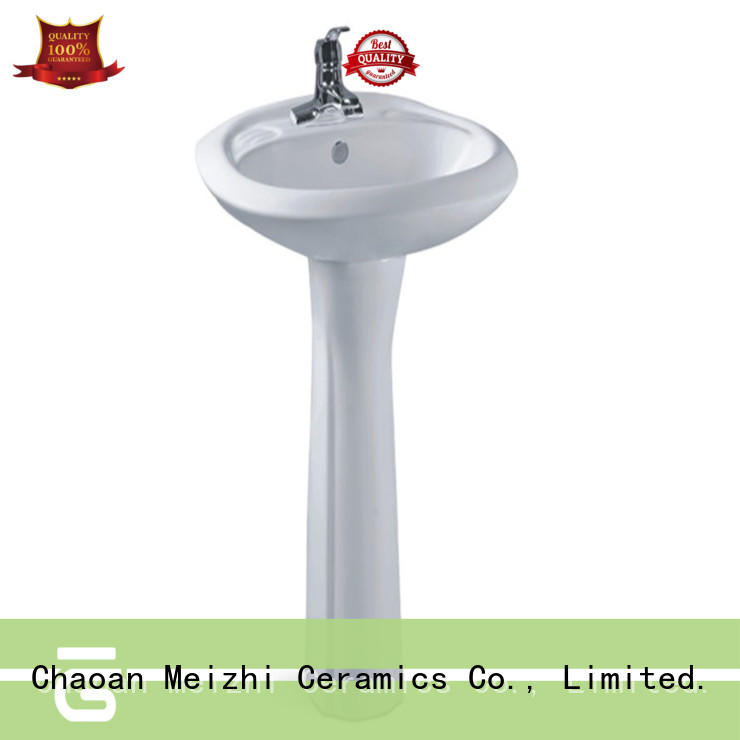 contemporary corner basin with pedestal customized for washroom