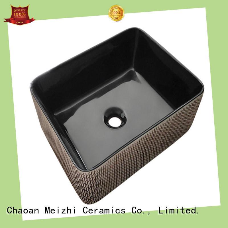 Meizhi black bathroom basin factory price for hotel